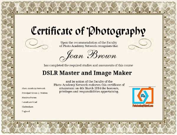 Yellow Black Border Photography Course Certificate